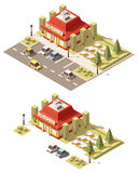 Vector isometric low poly fast food restaurant Stock Image