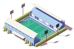 Vector isometric low poly field hockey stadium. Building Royalty Free Stock Images