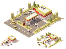Vector isometric low poly filling station Royalty Free Stock Photo
