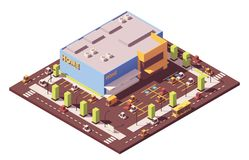 Vector isometric low poly supermarket Stock Images