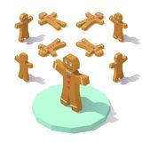 Low poly Gingerbread man. Vector isometric low poly Gingerbread man. Gingerbread man from different angles stock illustration