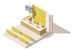 Vector isometric low poly hospital reception. Includes reception desk, seats and queue system display Stock Image