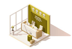 Vector isometric low poly hotel reception icon. Vector isometric low poly hotel reception cutaway icon. Includes reception desk and suitcases vector illustration