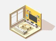 Vector isometric low poly living room cutaway icon. Room includes sofa, coffee table, tv, sound and other furniture Stock Photos