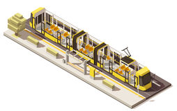 Vector isometric low poly low-floor tram Royalty Free Stock Image