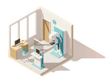 Vector isometric low poly mammography room. Vector isometric low poly clinic mammography room. Includes mammography unit and other equipment royalty free illustration