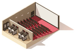Vector isometric low poly movie theater cutaway. Includes movie projection screen, seats and projectors Stock Photo