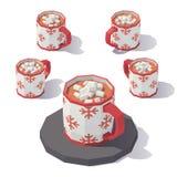 Mug of hot chocolate. Vector isometric low poly mug of hot chocolate with marshmallows. Mug from different angles stock illustration