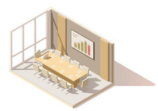 Vector isometric low poly office conference room. Includes table, office chairs, projector screen, with presentation charts Stock Photography