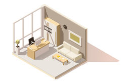 Vector isometric low poly office room Royalty Free Stock Photography
