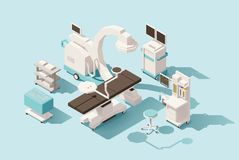 Vector isometric low poly operating room royalty free illustration