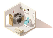 Vector isometric low poly ophthalmologist office Royalty Free Stock Images