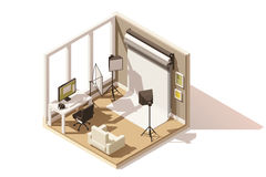 Vector isometric low poly Photo studio room icon Royalty Free Stock Image