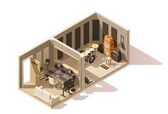 Vector isometric low poly recording studio icon stock illustration
