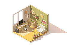 Vector isometric low poly room cutaway icon Royalty Free Stock Photo