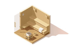 Vector isometric low poly sauna room icon Royalty Free Stock Photography