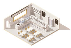 Vector isometric low poly self service restaurant Royalty Free Stock Photos