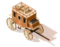 Vector isometric low poly stagecoach icon Royalty Free Stock Images