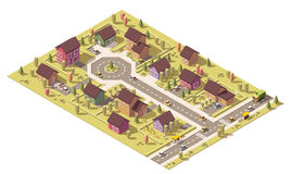 Vector isometric low poly suburb Royalty Free Stock Photography