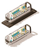 Vector isometric low poly subway train cross-section Royalty Free Stock Photo