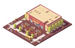 Vector isometric low poly supermarket Royalty Free Stock Photography