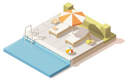 Vector isometric low poly swimming pool Stock Photo