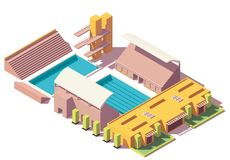 Vector isometric low poly swimming pool Royalty Free Stock Photography