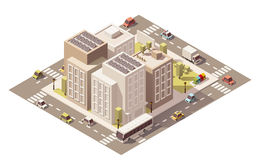Vector isometric low poly town street with buildings Stock Images