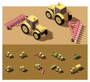 Vector isometric low poly tractor. Working in field Stock Photos