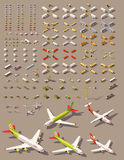 Vector isometric low poly transport set Stock Photos