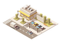 Vector isometric low poly urban supermarket Royalty Free Stock Photography