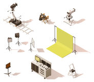Vector isometric low poly video equipment set. Vector isometric low poly movie and tv video equipment set. Includes video cameras, camera dolly, lighting and Stock Photos