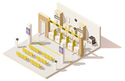 Vector isometric low poly visa application center. Includes queuing system ticket terminals, seats for customers, queue displays, barriers and offices Stock Images