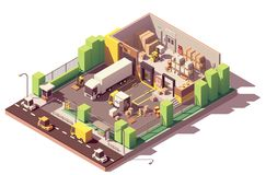 Vector isometric low poly warehouse cross-section royalty free illustration