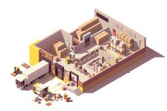 Vector isometric low poly warehouse cross-section vector illustration