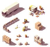 Vector isometric low poly warehouse equipment stock illustration