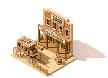 Vector isometric low poly wild west saloon. Vector isometric low poly old west saloon and stagecoach vector illustration