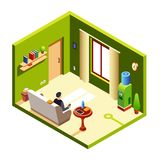 Vector isometric man in recreation room royalty free illustration