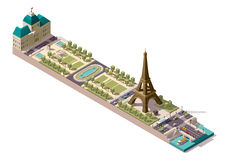 Vector isometric map of the Champ de Mars in Paris Royalty Free Stock Image