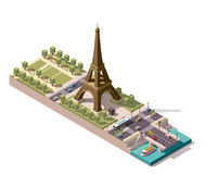 Vector isometric map of the Champ de Mars in Paris Stock Photography