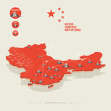 Vector isometric map of China with icons of the city, roads and Stock Photos