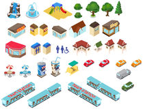 Vector for isometric map (park). Cartoon isometric map best for park vector illustration