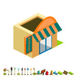 Vector isometric market building icon Stock Photography