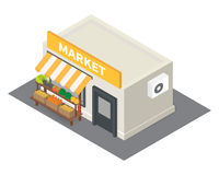 Vector isometric market stalls with vegetables Stock Images