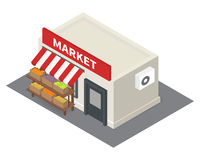 Vector isometric market stalls with vegetables Royalty Free Stock Photos