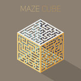 Vector Isometric Maze Cube Cage Design Concept Stock Image