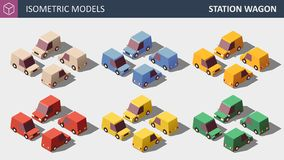 Vector Low Poly Personal Cars Set in Six Colors. stock illustration