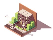 Vector isometric automated car parking system royalty free illustration