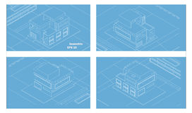 Vector isometric modern house wens four sides Stock Photo