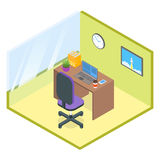 Vector isometric modern office room. Stock Image